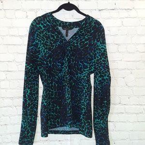 Bcbgmaxazria Jade combo long sleeve blouse size M